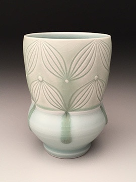 Adam Field, Porcelain Cup with Carved Pattern and Celadon Glaze, $60
