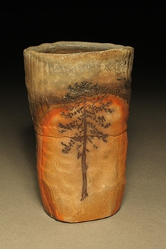 """Scott Parady, Woodfired Tumbler with Tree Etching, 5x3"""" $80"""