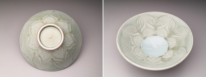 Adam Field, Udon Bowl, Porcelain with Carved Pattern and Celadon Glaze 3.5x9.25x9.25 $120
