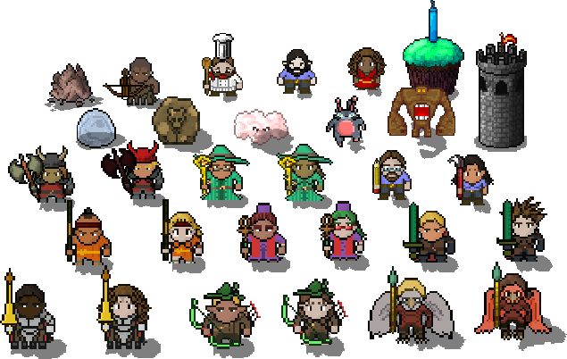 All of Harmonia Tactics' sprites in their default color schemes.