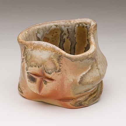 Jack Troy, Porcelain Teabowl Shino lined with natural ash glaze $175