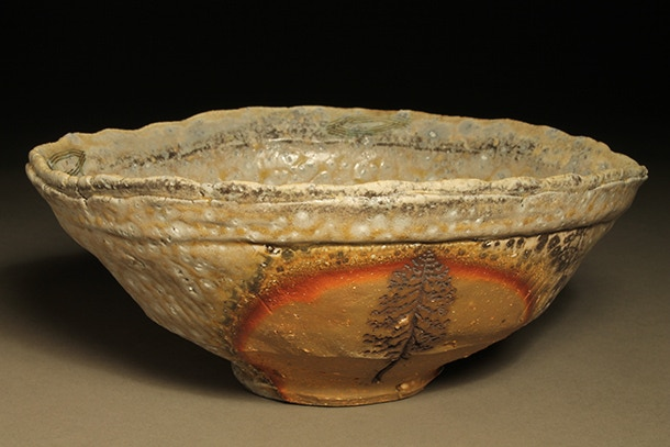 """Scott Parady, Woodfired Bowl with Tree Etching, 8x3.5"""" $200"""