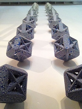 """Andy Ruble, Cube, 7"""" with hanging rod attached, choose dark blue or light blue $250 Ea."""