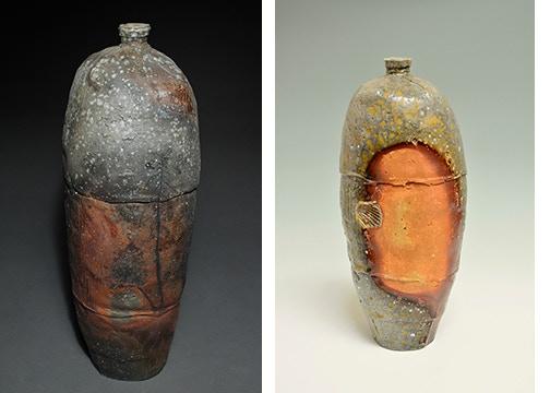 "Scott Parady, Tall Bottle 15x5x5"" $300, Woodfired Tall Bottle 13.5x5"" $300"