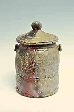 "Scott Parady, Woodfired Covered Jar 12x7"" $380"