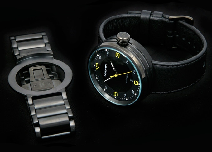 "2SI on Black Leather Band - Optional Black IP Stainless Steel ""Steam Roller"" Bracelet"