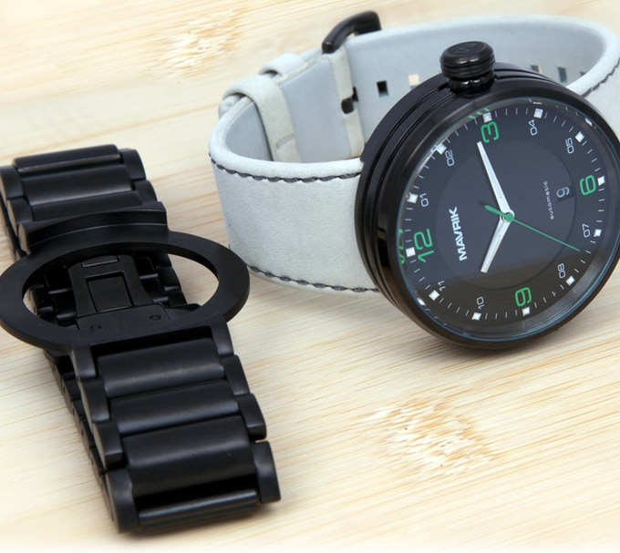 """2SG on Suede Leather Band - Black IP Stainless Steel """"Steam Roller"""" Bracelet"""