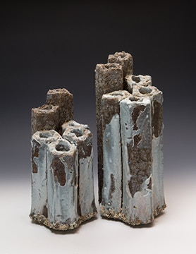 Darren Cockrell, Six is Better Than Five, Pentagon Vase Pair, Woodfired $575