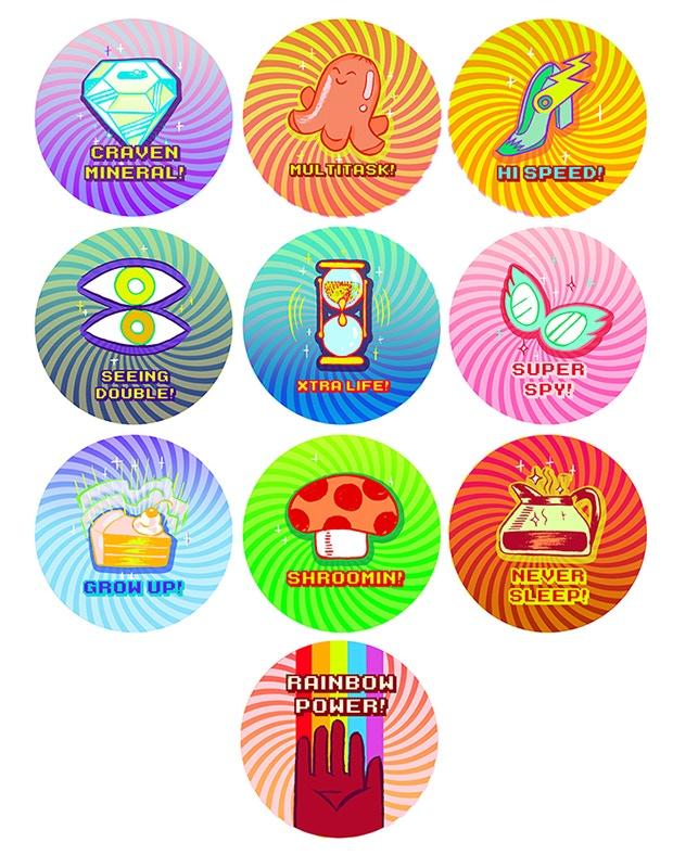 Power-up sticker set by Kat Verhoeven