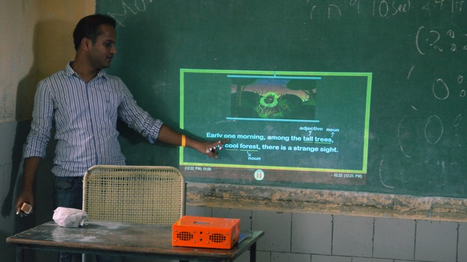 The Bright Orange Box being used by Anurag in his Delhi classroom - It provides great image clarity even on blackboards