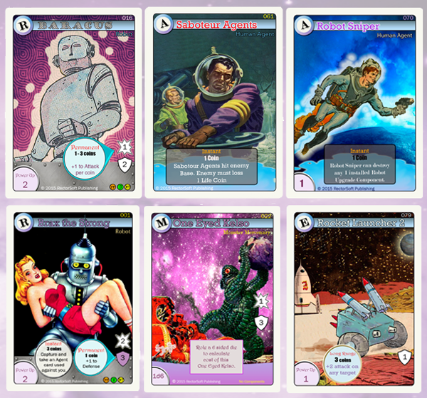 Card Samples...Oozing with Robots, Monsters, Super Weapons, etc