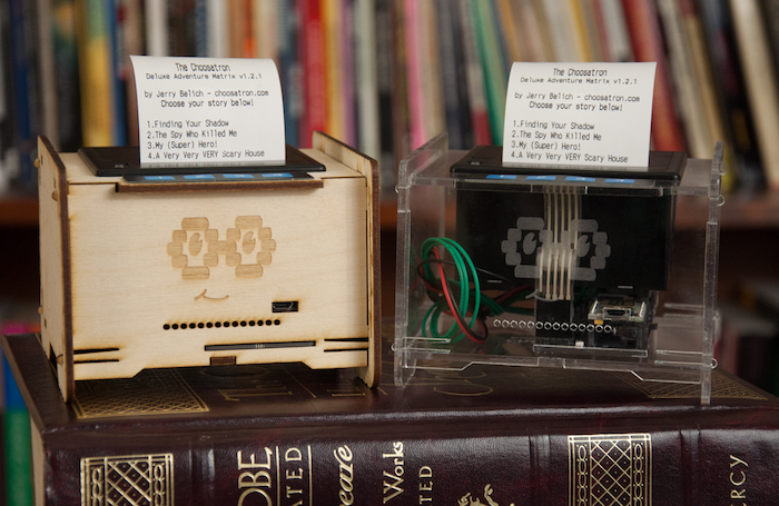 The Choosatron is a Choose Your Own Adventure® inspired story printer. Wi-Fi connected and fully hackable!