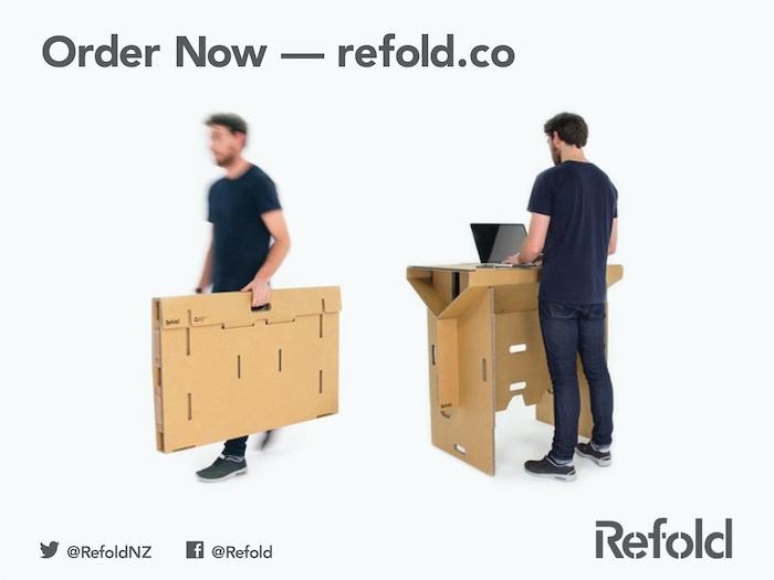 refold s portable cardboard standing desk by refold kickstarter