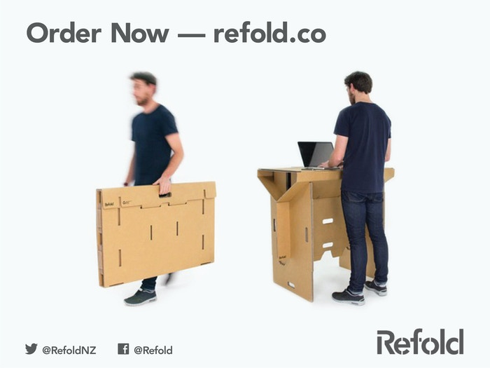 Flexible, foldable, portable, affordable & 100% recyclable. Refold's cardboard standing desk will change the way you work!