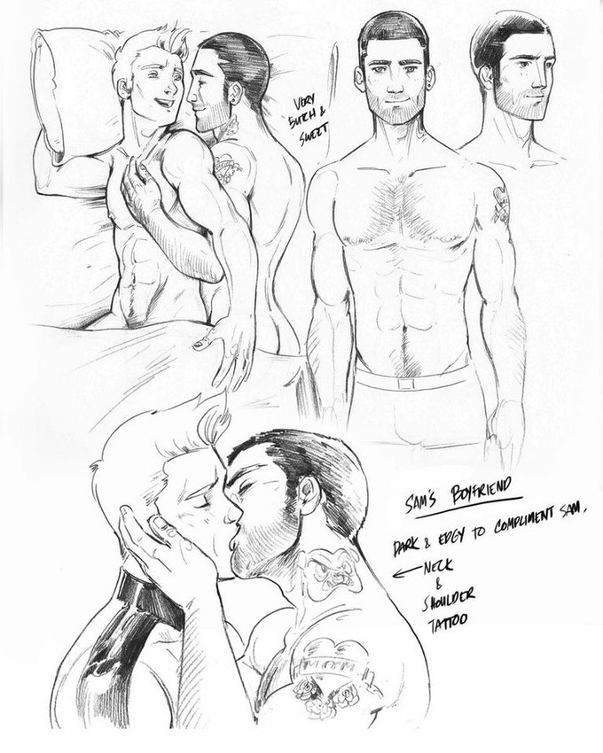 Sam and his husband Jase character sketch