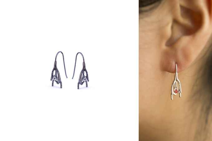 Spine earrings oxidised with white Sapphires (left) and being worn with orange Sapphires (right)
