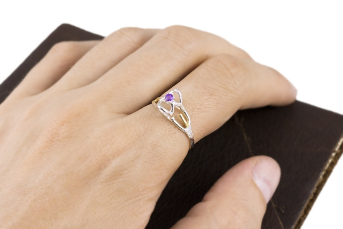 Synapse ring with Amethyst