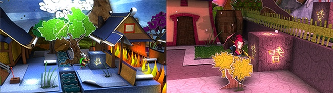 Screenshots from Upside-Down Dimensions showing the contrasting worlds of Ryuu & Keiko