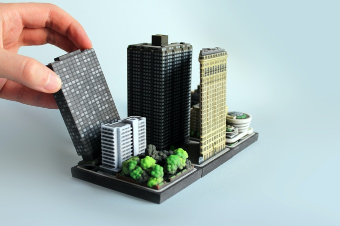 The Flatiron Building model next to its neighbor in a complete diorama