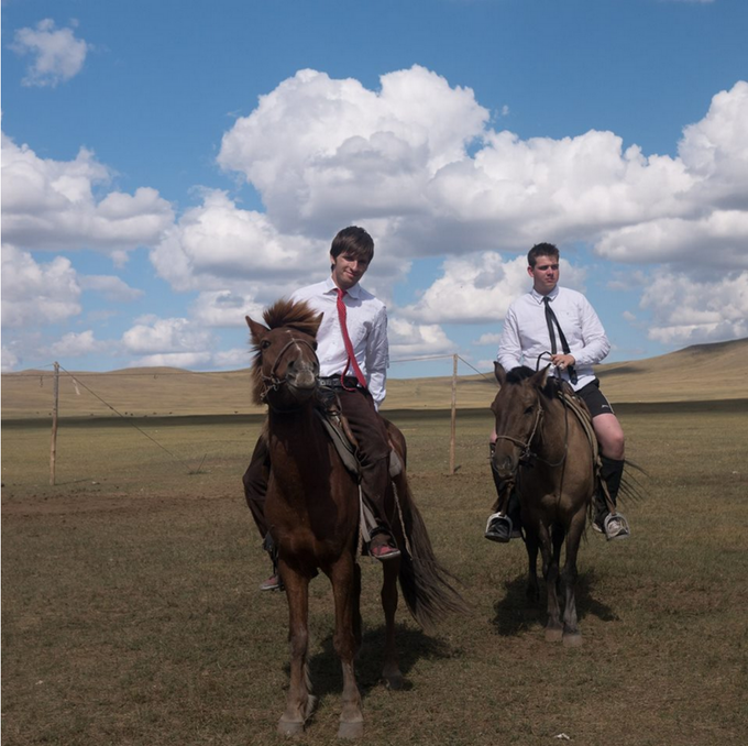 Philip and Ollie doing market research in Mongolia