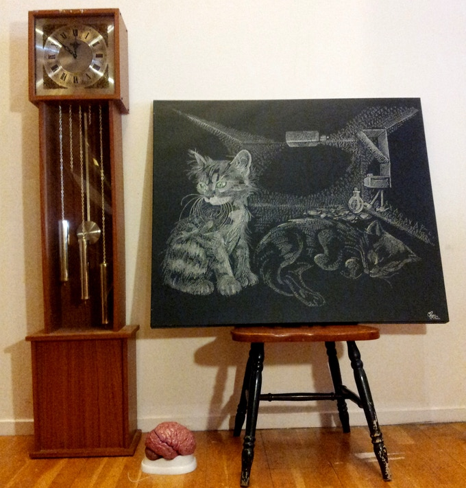 """Schrodinger's Cat 30"""" x 24"""" giclee canvas print on gallery bars. You will be able to choose a limited edition of the """"Eye"""", """"Spine"""" or """"Brain""""  from the upcoming Lab Series,"""