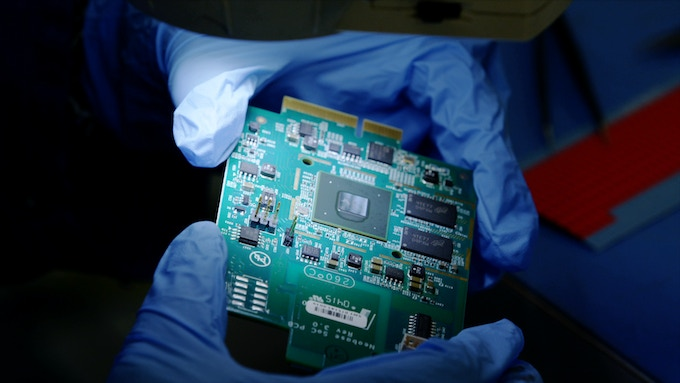 Our circuit board being inspected at the manufacturer