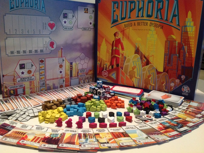 Build a city, enhance allegiances, and expand control using worker dice in this dystopian-themed board game for 2-6 players.