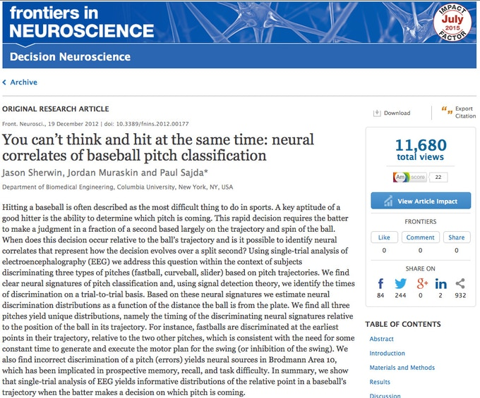 Frontiers in Neuroscience peer-reviewed article on hitting