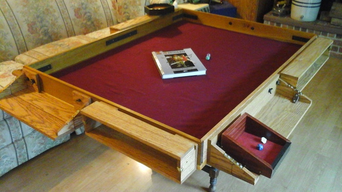 Game Night Glass Tables: Tabletop Gaming Fold-Out Cubby Shelf Table Top Project! By