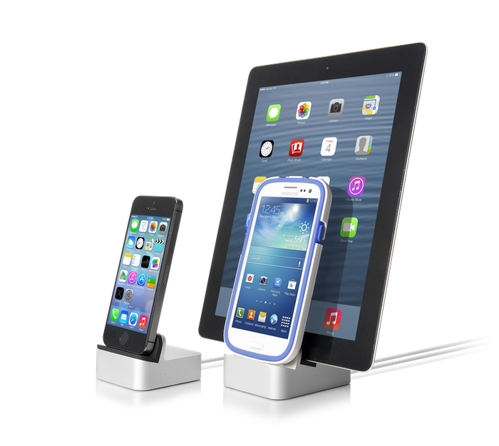 Stunning aluminum design. Single or dual dock. Works with Lightning, 30-pin, micro-USB. Works with or without a case.