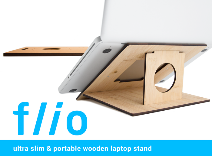 Flio is a collapsible laptop stand that offers an ergonomic viewing height and keeps an angle for easy typing anywhere you go.