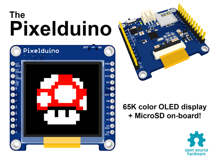 "The Pixelduino is a tiny Arduino-compatible microcontroller with a full color 1.5"" OLED display + MicroSD built-in!"