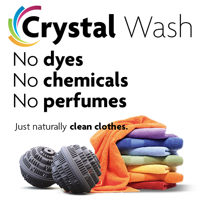Crystal Wash™ 1000 loads of clean laundry without using Detergents, Chemicals or Perfume… Now launching into the 21st Century.