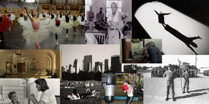 Stills from other Wiseman fims -  LA DANSE, TITICUT FOLLIES, THE LAST LETTER, AT BERKELEY, CENTRAL PARK, NATIONAL GALLERY, DEAF, BOXING GYM, BASIC TRAINING