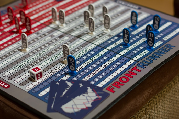 FrontRunner: a game that recreates a US presidential election. This humorous game is great for parties, family night or the classroom!