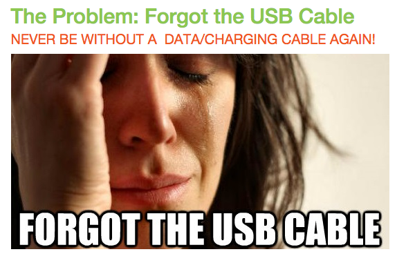 The Problem: Forgot the USB Cable NEVER BE WITHOUT A DATA/CHARGING CABLE AGAIN!