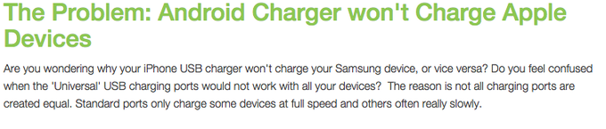 The Problem: Android Charger won't Charge Apple Devices