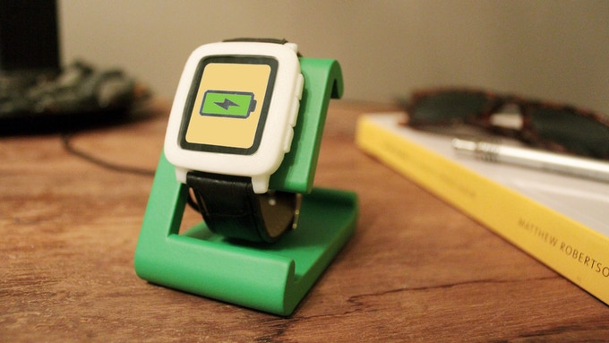 TimeDock in Kickstarter Green on your Desk with Pebble Time model