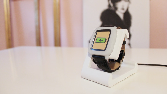 TimeDock White on the Nightstand with Pebble Time model