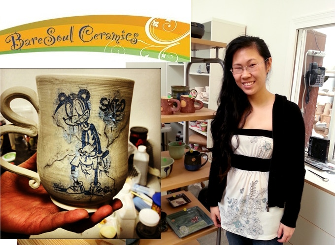 Lily Lao, creator with a raw unfired cermaic mug