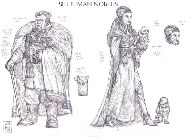 Will Beck's concept sketches for Colony 87 nobility