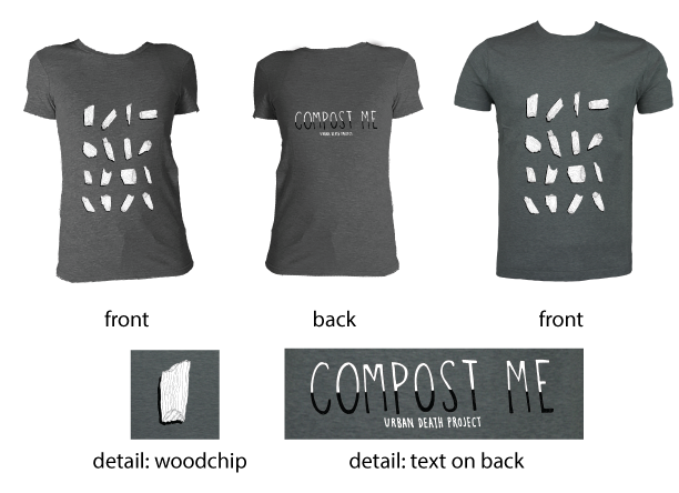 "Our ""Compost Me"" t-shirt features art and hand lettering by Iris Gottlieb and is printed on soft sweatshop free cotton."