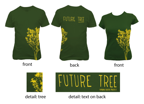 "Our ""Future Tree"" t-shirt features hand lettering by Iris Gottlieb and is printed on soft sweatshop free cotton."