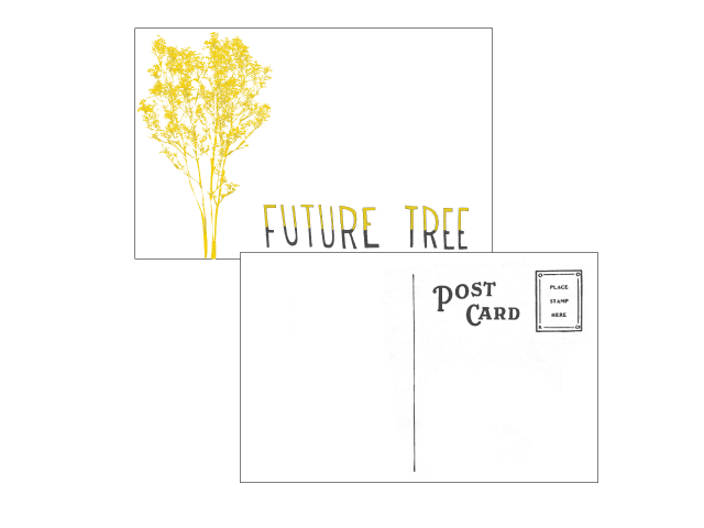 "Our ""future tree"" sticker postcard will be handwritten and mailed to you."