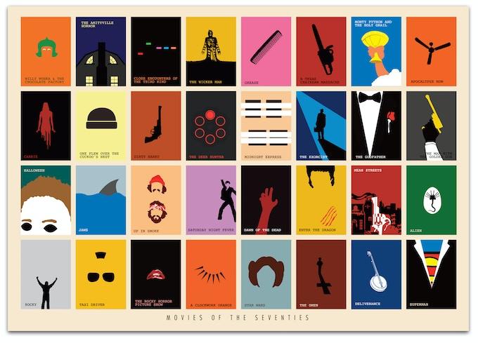 Movies of the Seventies Art Print