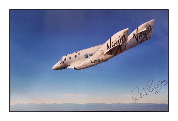 "Pledge of $3,000 or more:  The special  24"" x 36"" SPACESHIPTWO PRINT signed by Richard Branson."