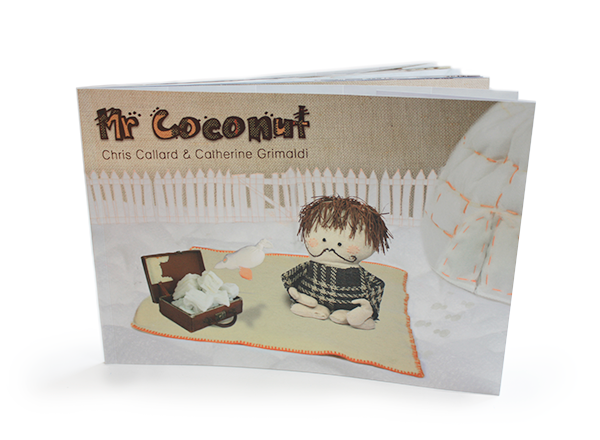 A children's picture book illustrated with a combination of puppets, hand-stitching and fabrics – the story of Mr Coconut.