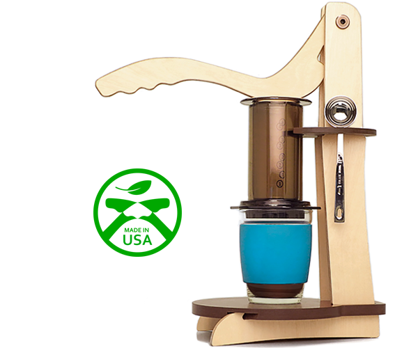 Make your coffee with less effort while providing a home for your AeroPress and its tools. Made from green, sustainable materials.