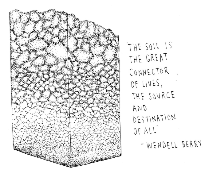"Artist Iris Gottlieb created this print titled ""Soil"" featuring a quote by Wendell Berry."
