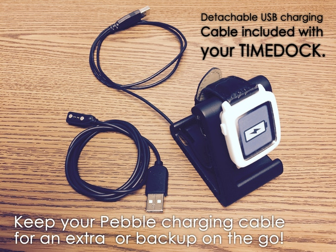 TimeDock with detachable micro USB Charging Cable, Pebble Time model, and Pebble's included Charging Cable